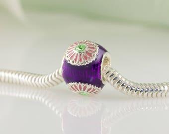 Pink Daisy  Charm Jewelry Bead Slide, Pink Flowers on Purple Bead for Bracelet, Large Hole Bead Enamel Jewelry Sterling Silver Charm