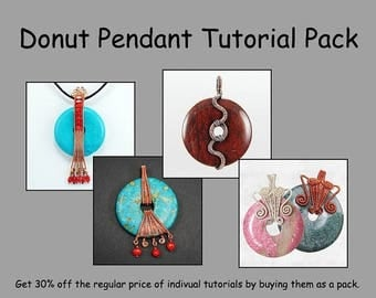 Sale, 15% Off - Wire Wrapped Donut Pendant Tutorial Pack - Wire Jewelry Tutorials - Save 30 Percent