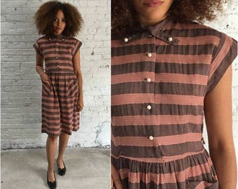 vintage 50s dusty rose cotton dress / striped mauve lace eyelet short sleeve day dress / rockabilly school girl dress
