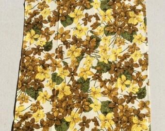 ON SALE Vintage Tea Towel Apple Blossoms in Groovy 70s colors