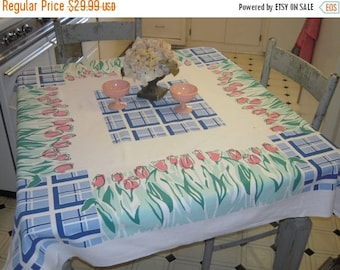 ON SALE Vintage Fiatelle Tablecloth Garden of Pink Tulips