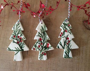 Set of 3 Ornaments, ChristmasTree Ornaments, Tree Decorations, Gift Tags, Handmade Ceramic Ornaments