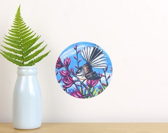 Fantail in Harakeke tiny dot wall decal by Ira Mitchell-Kirk | New Zealand wall decal | New Zealand birds | kiwiana wall decal