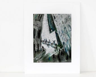 Into the Shadows - print of my original New York City Painting,City, Manhattan,Wall decoration, Ready to hang,