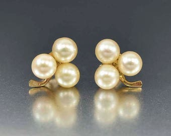 Pearl Clover Stud Earrings | 14K Gold Pearl Studs | Clover Earrings | Akoya Pearl Earrings | Vintage Pearl Stud Earrings | Lucky Clover Leaf