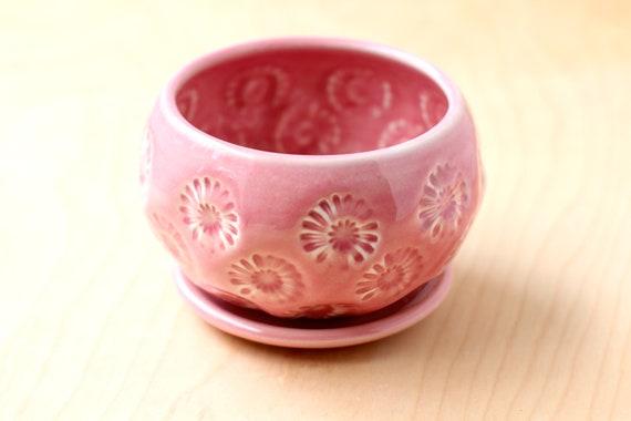 pink planter // cactus planter // succulent pot // ceramic pot // flower pot