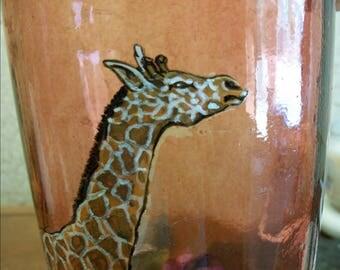 Beautiful Hand Painted Giraffe on Antique Vase