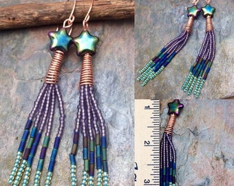 Make a wish  Shooting Star  Long Seed Bead Earrings by Marta Weaver Jewelry, Ready to Ship, Free USA Shipping