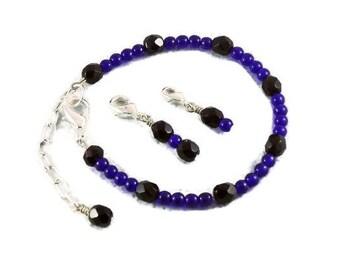 Points Tracker Calorie Calculator Counting Beadwork Bracelet Cobalt Blue Black Crystals