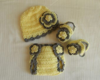 Baby Girl Infant Girl Crochet Hat Beanie Booties Diaper Cover Baby Shower Gift Photo Prop 10011 MADE TO ORDER