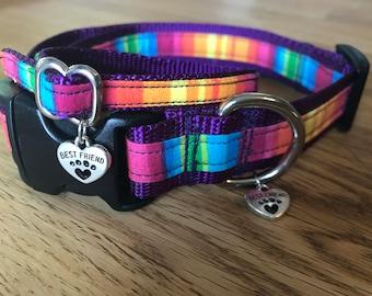Best Friend Bracelet and Pet Collar Set in Rainbow print on Purple Webbing.