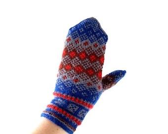 20% off sale Vintage Wool Mittens | Norwegian Mittens | Handknit Mittens | S M