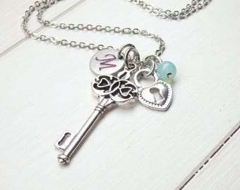 Vintage Style Skeleton Key and Monogram Long Necklace