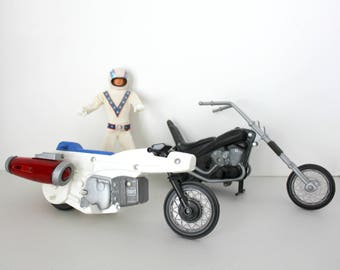 Evel Knievel Doll w/ Super Jet Cycle Rocket Bike and Chopper Motorcycle