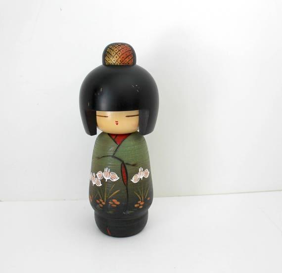 "Vintage Japanese Kokeshi Doll, Wood Carved Geisha Girl, 8"" Tall Wooden Doll Figure"
