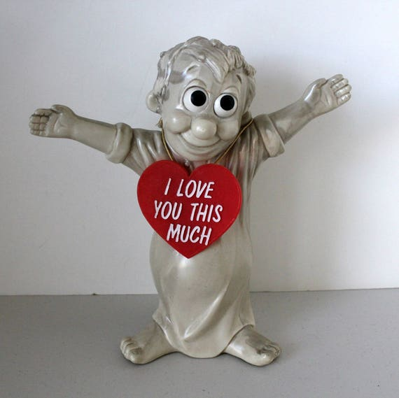 Vintage Russ Berrie I Love You This Much Large Statue, Red Heart, Valentines Day