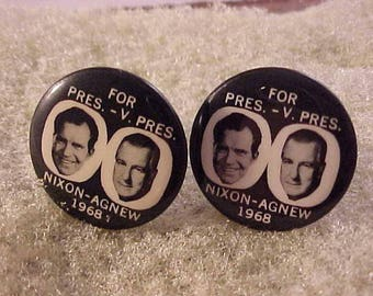Political Cuff Links Nixon Agnew 1968 Vintage Campaign Button - Free Shipping to USA
