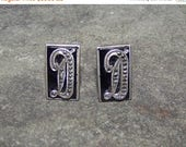 ON SALE VINTAGE Sterling Cuff Links Art Deco  With Black Glass And Marcasite Monogram D
