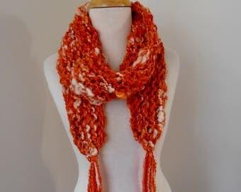 little Scarf  Hand Spun Hand Knit  Art Yarn  merino  silk scarf