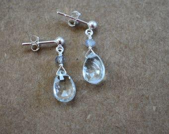 aquamarine teardrop earrings. sterling silver posts. pale aquamarine faceted teardrop earrings with labradorite detail. wedding earrings