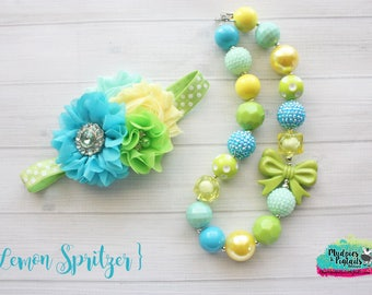 Summer Chuncky Necklace set { Lemon Spritzer } first birthday chunky necklace, baby headband, toddler bracelet, cake smash photography prop
