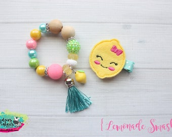 Lemon toddler bracelet { Lemonade Smash } first birthday, lemonade stand, fruit, summer, baby girl, hair clippie cake smash photography prop