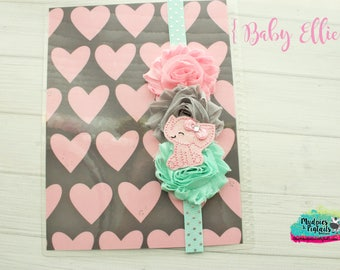 Planner band { Baby Ellie } elephant animal pastel, pink, mint gray spring band planner girl accessories bible band, baby headband