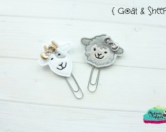 Planner Clip or Hair Clippies { Goat & Sheep } farm, animal Summer Paper Clips, Stationary, Birthday party favors, kikkik