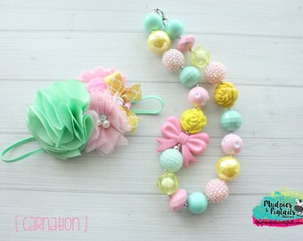 Spring necklace or baby headband { Carnation } pastel, mint pink yellow, easter bunny, dress, outfit birthday cake smash photography prop
