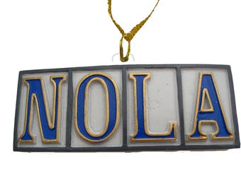 New Orleans NOLA Holiday ornament WIth FREE Pouch / Bag favor Christmas Decoration French Quarter Big Easy gift French Quarter