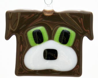 Glassworks Northwest - Brown and White - Fused Glass Dog Friend Ornament