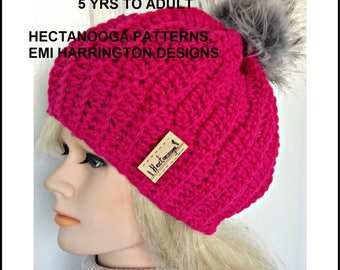 crochet PATTERN, Hat pattern, Crochet hat, 5 yrs to adult, girls and women, kids hats, easy crochet pattern, hectanooga patterns  #2117,
