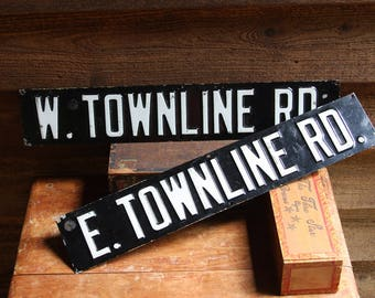 Vintage METAL STREET SIGNS- Townline Rd- Black & White Signs- Industrial Road Sign- Bar Sign- Vintage Display
