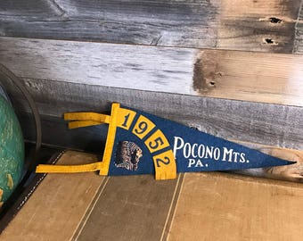 Vintage PENNANT- Felt Souvenir Flag Pocono Mts, PA- Indian 1952 Blue & Gold Pennant- Pocono Mountains