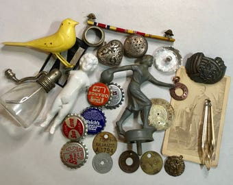 Vintage Assemblage Lot- Bowling Trophy Top- Yellow Bird- Frozen Charlotte- Bottlecaps- Brass Tag Findings- Found Object Lot- D7