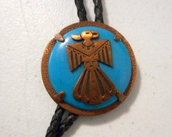 Vintage Bell Trading Post Bolo Tie Copper Turquoise Necklace Eagle Phoenix Bird