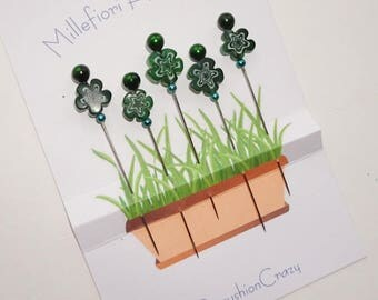 Green Millefiori Flower Pins - Decorative Straight Pins - Flower Pins - Gift for Quilter - Pincushion Pins  -  Girlfriend Gift - Beaded Pins