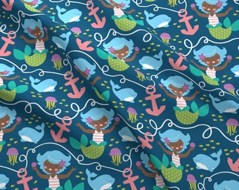 Swimming Mermaid Fabric - To The Sea By Lizmytinger - Mermaid Baby Nursery Decor Cotton Fabric By The Yard With Spoonflower