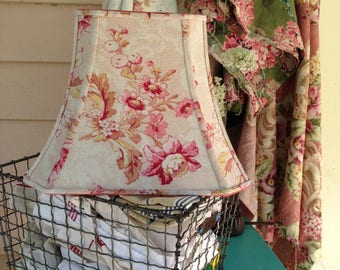 "Bark Cloth Lampshade, French Floral Lamp Shade, Rectangle Bell 7""t x 12""b x 9.5"" h, Pink and Rose Flowers, Vintage Fabric, Shabby Chic"