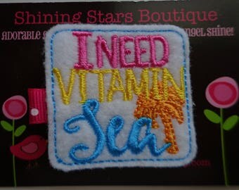 "Felt Hair Clips - Hot Pink, Yellow, Orange, & Turquoise Blue Embroidered Felt ""I Need Vitamin SEA"" Hair Clippie - Beach Or Ocean Vacation"