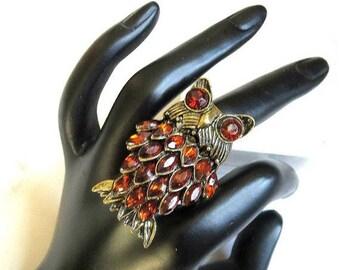 SALE Amber Rhinestone Owl  Ring Expansion Vintage Retro