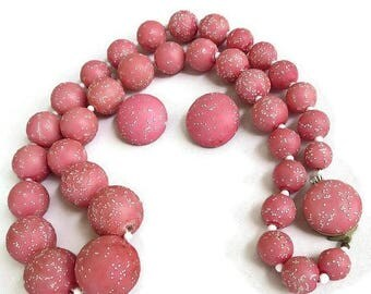 SALE Pink Enamel Sugar Beads Necklace and Earrings Set Beaded Vintage