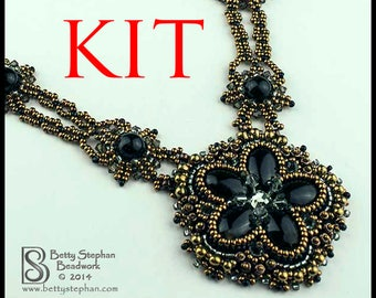 KIT- Princess Necklace black bead embroidered