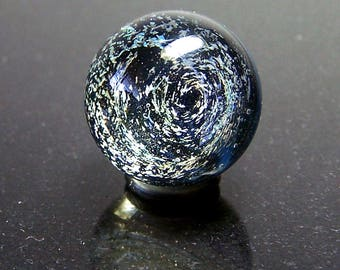 Snow Storm Galaxy over a Blue Nebula Micromarble 17mm - Men in Black Mini Galaxy Orions Belt Tiny Marble