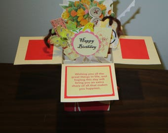 Handmade Birthday greeting card in pop up exploding box card-1 left - Free ship USA