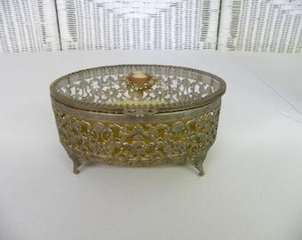 Vintage Jewelry Casket Ormolu Filigree Trinket Box Cameo Top