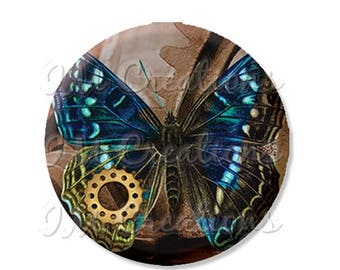 "50% OFF - Pocket Mirror, Magnet or Pinback Button - Wedding Favors, Party themes - 2.25""- Steampunk Butterfly MR101"