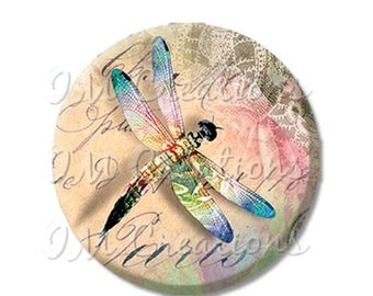 "50% OFF - Pretty Dragonfly Springtime - Pocket Mirror, Magnet or Pinback Button - Fundraiser, Events, Gifts - 2.25"" - MR224"