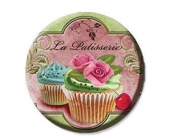 "20% OFF - Pocket Mirror, Magnet or Pinback Button - Wedding Favors, Party themes - 2.25""- La Patisserie MR266"