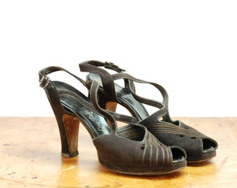 Vintage 1940s Shoes - Exquisite De Liso Debs Chocolate Brown Suede Cross Strap Platform Pumps with Top Stitching 7 7.5